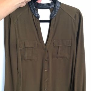 Tops - Hunter green blouse leather trim